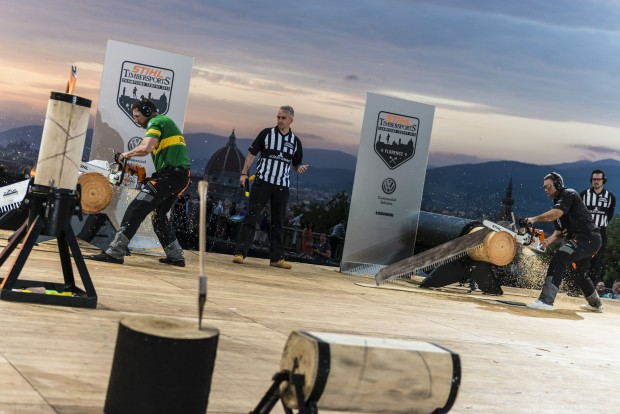 (L-R) Brad Delosa of Australia and Jason Wynyard of New Zealand competing during the Stihl Timbersports Champions Trophy at Piazza Michelangelo, in Florence, Italy on May 16, 2015. Free image for editorial usage only: Armin Walcher for Limex Images FOR EDITORIAL USE ONLY. NO SALE, NO ARCHIVE, NO MARKETING OR ADVERTISING CAMPAIGNS.