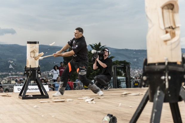 Jason Wynyard of New Zealand competes during the Stihl Timbersports Champions Trophy at Piazza Michelangelo, in Florence, Italy on May 16, 2015. Free image for editorial usage only: Armin Walcher for Limex Images FOR EDITORIAL USE ONLY. NO SALE, NO ARCHIVE, NO MARKETING OR ADVERTISING CAMPAIGNS.