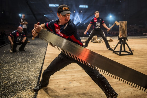 Team USA performs during the team competition of the Stihl Timbersports World Championship at the Olympiahall in Innsbruck, Austria on November 14, 2014.