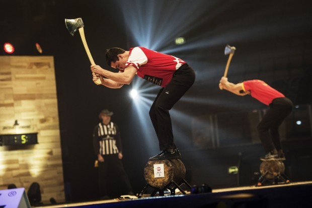 Armin Kugler of Austria performs at the finals of the Stihl Timbersports World Championships at the Olympia Hall in Innsbruck, Austria on November 15, 2014.