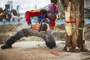 Athlete performs during the World Logging Championship in Lillehammer, Norway on August 4, 2018