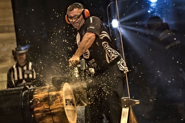 Jason Wynyard of New Zealand performs at the finals of the Stihl Timbersports World Championships at the Olympia Hall in Innsbruck, Austria on November 15, 2014.