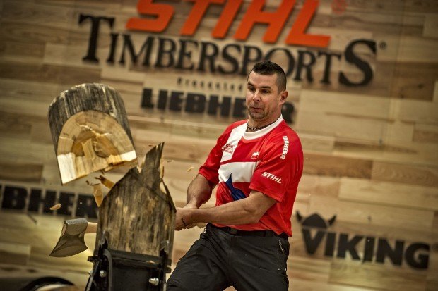 Arkadiusz Drozdek of Poland seen at the qualifying of the Stihl Timbersports World Championships at the Olympia Hall in Innsbruck, Austria on November 13, 2014.