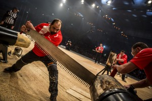Team Poland performs during the team competition of the Stihl Timbersports World Championship at the Olympiahall in Innsbruck, Austria on November 14, 2014.
