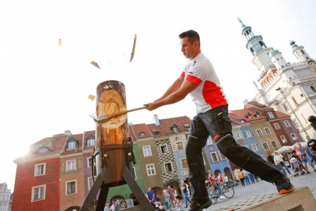 Arkadiusz Drozdek of Poland training in Poznan on 13th of September 2015 for the Stihl Timbersports World Championship 2015 which will be held in Posznan on November 13th and 14th 2015