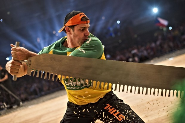 Brad Delosa of Australia performs at the Stihl Timbersports World Championships at the Olympia Hall in Innsbruck, Austria on November 15, 2014.