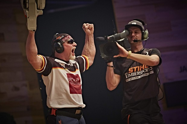 Dirk Braun of Germany performs during the single competition at the STIHL TIMBERSPORTS® World Championship in Poznan, Poland on November 14, 2015.