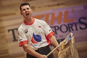 Arkadiusz Drozdek of Poland performs during the single competition at the STIHL TIMBERSPORTS® World Championship in Poznan, Poland on November 14, 2015.