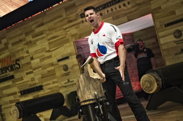 Arkadiust Drozdek of Poland performs at the STIHL TIMBERSPORTS® World Championship in Poznan, Poland on November 15, 2015.