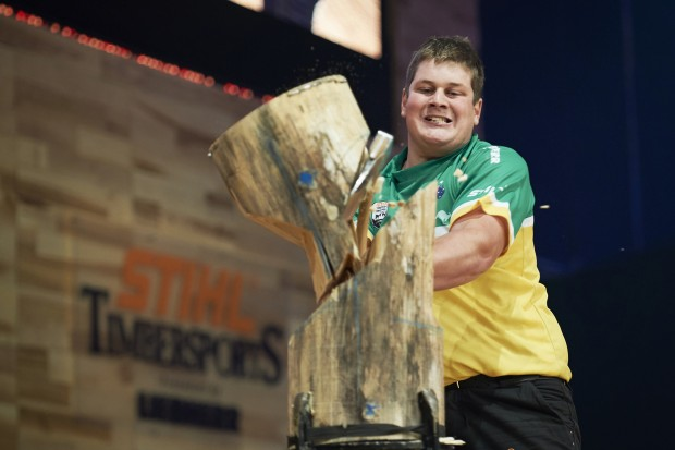 Brayden Meyer of Australia performs during the single competition at the STIHL TIMBERSPORTS® World Championship in Poznan, Poland on November 14, 2015.