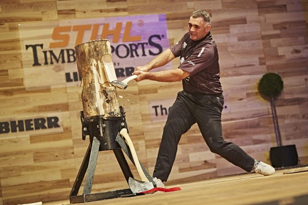 Jason Wynyard of New Zealand performs during the single competition at the STIHL TIMBERSPORTS® World Championship in Poznan, Poland on November 14, 2015.