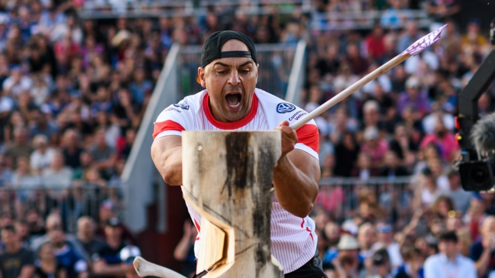 Michal Dubicki of Poland competes during the Stihl TIMBERSPORTS® Champions Trophy in Marseille, France on May 26, 2018.