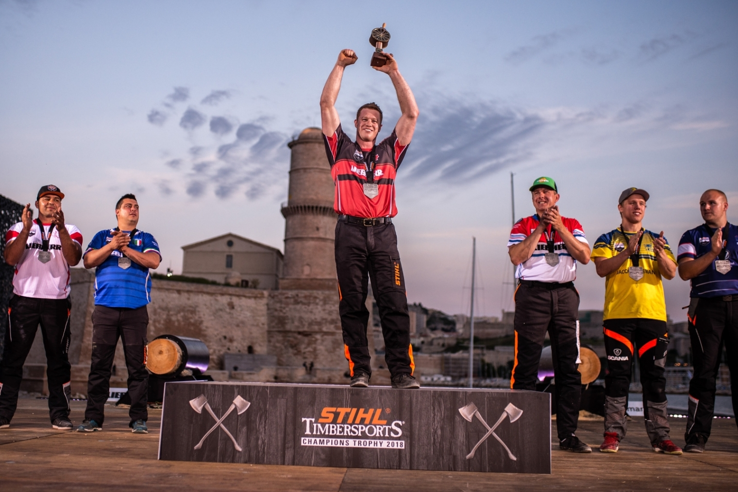 Stirling Hart of Canada celebrates after winning the Stihl TIMBERSPORTS® Champions Trophy in Marseille, France on May 26, 2018.