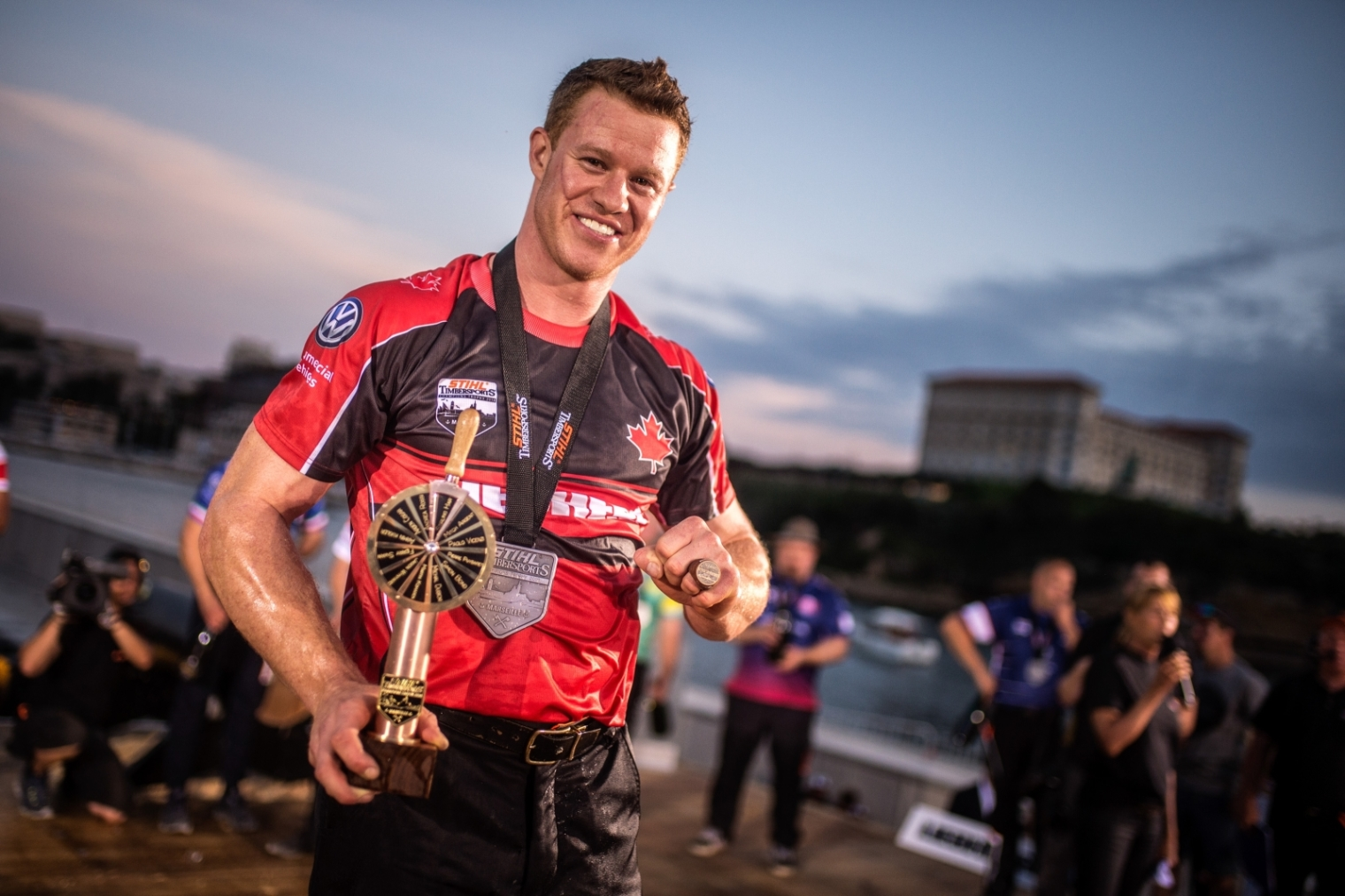 Stirling Hart of Canada poses for a photograph after winning the Stihl TIMBERSPORTS® Champions Trophy in Marseille, France on May 26, 2018.