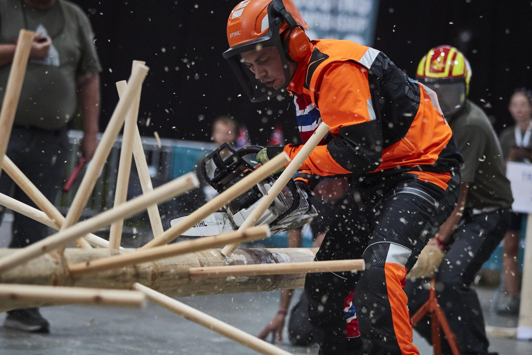 Athlete performs during the World Logging Championship in Lillehammer, Norway on August 5, 2018