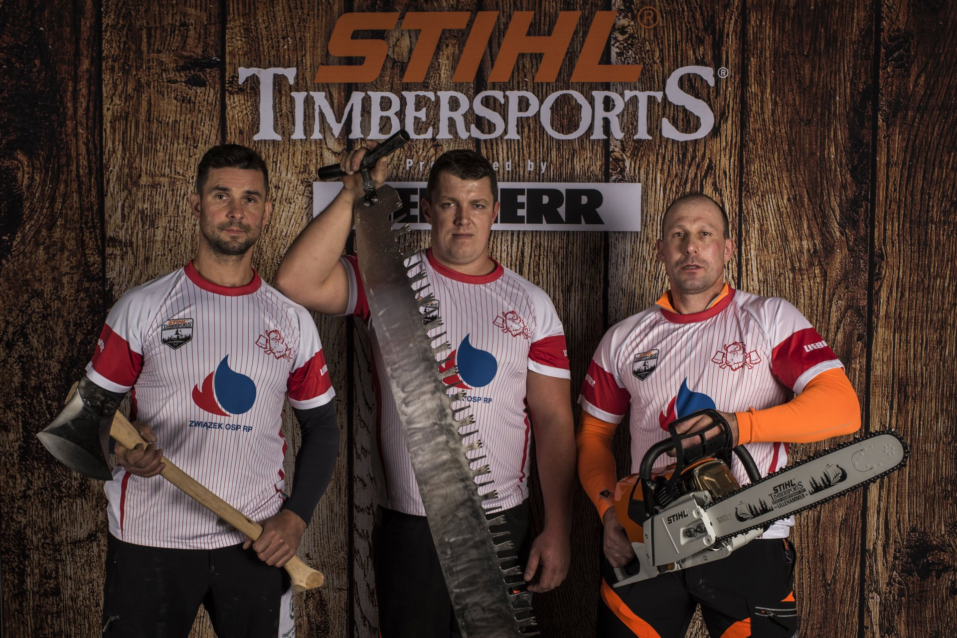 Team Poland poses for a photograph prior to the Team Competition of the Stihl Timbersports World Championships at the Hakons Hall in Lillehammer, Norway on November 3, 2017.