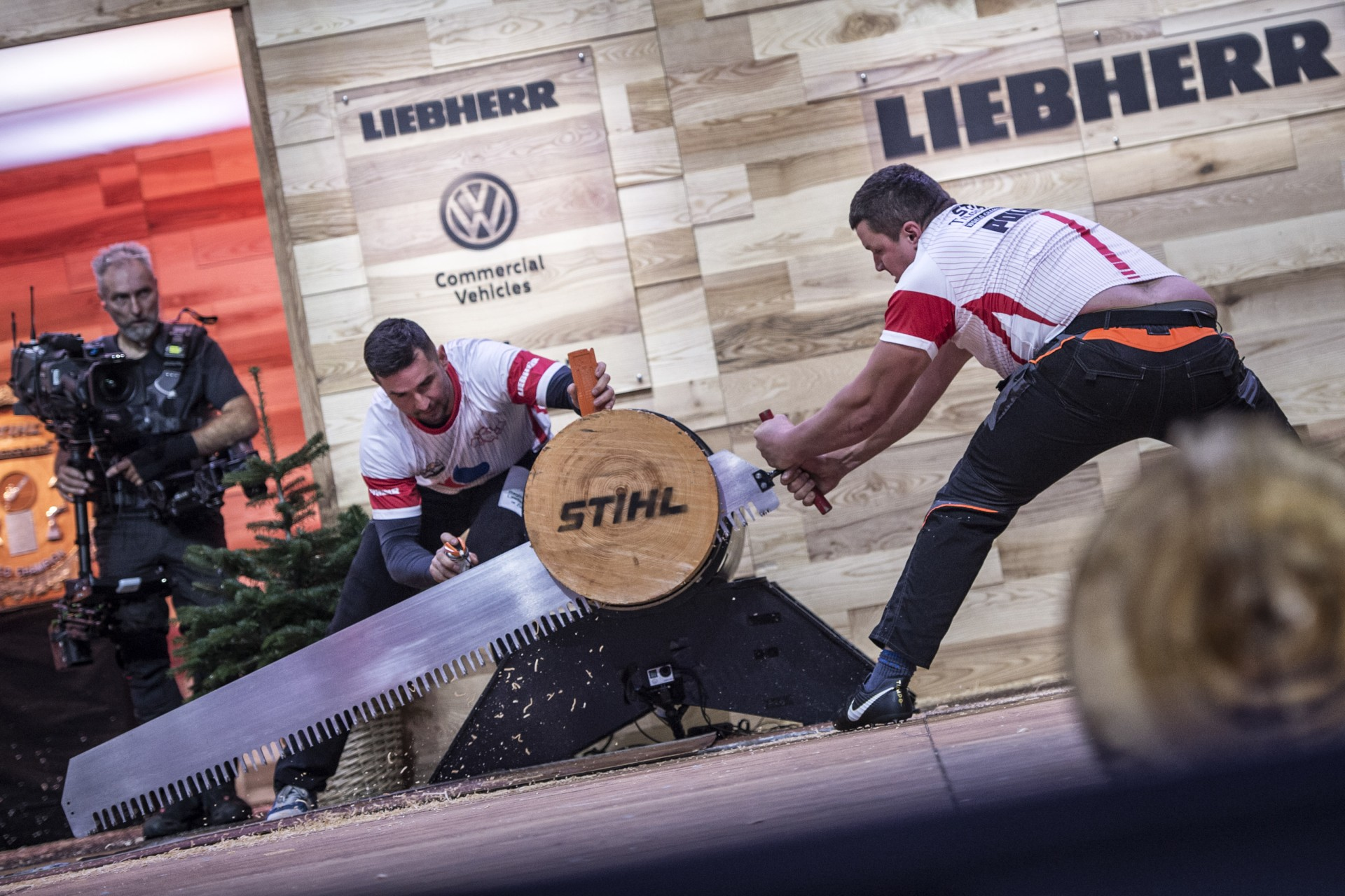 Team Poland competes during the Time Trials for the Team Competition of the Stihl Timbersports World Championships at the Hakons Hall in Lillehammer, Norway on November 3, 2017.