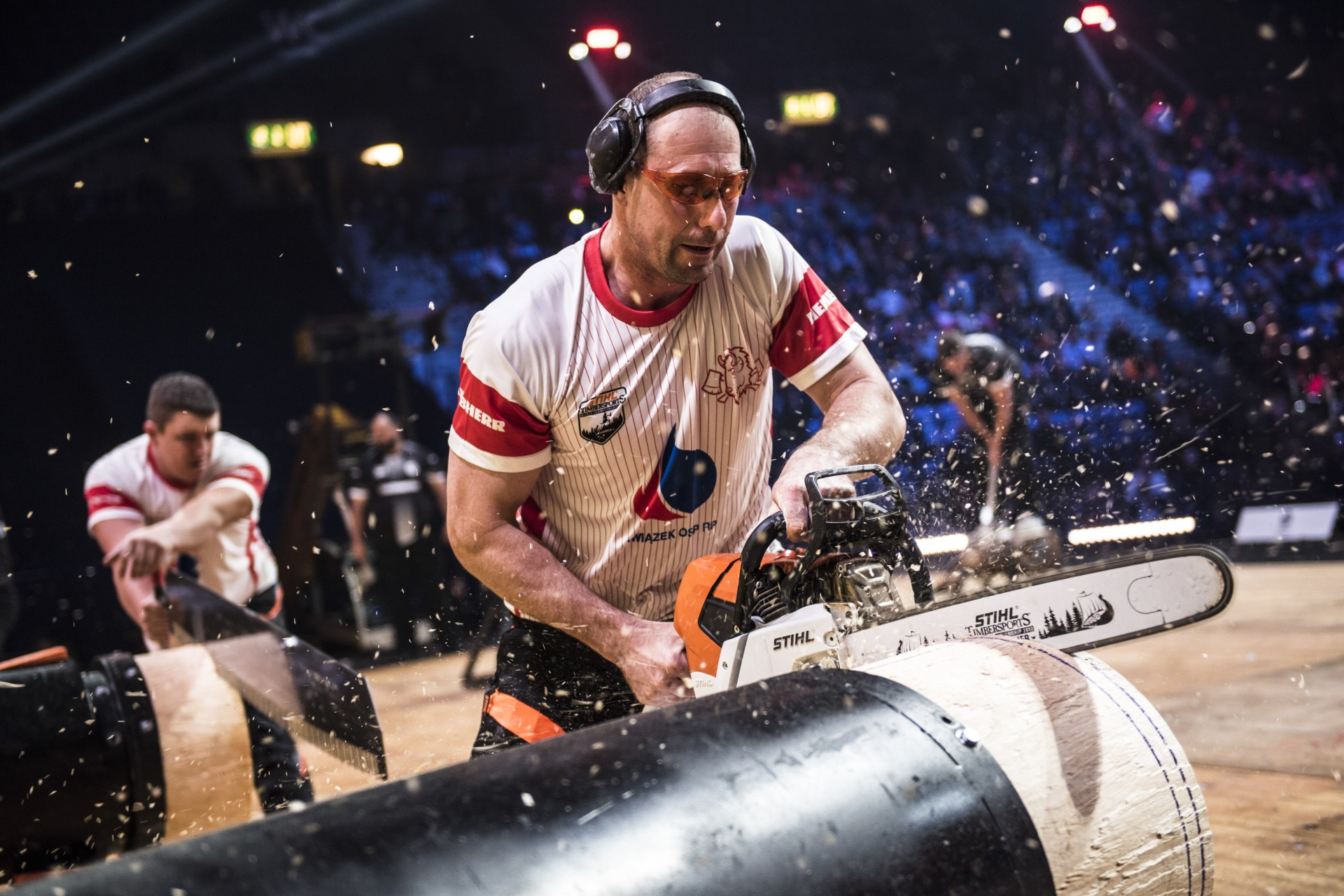 Team Poland competes during the Team Competition of the Stihl Timbersports World Championships at the Hakons Hall in Lillehammer, Norway on November 3, 2017.