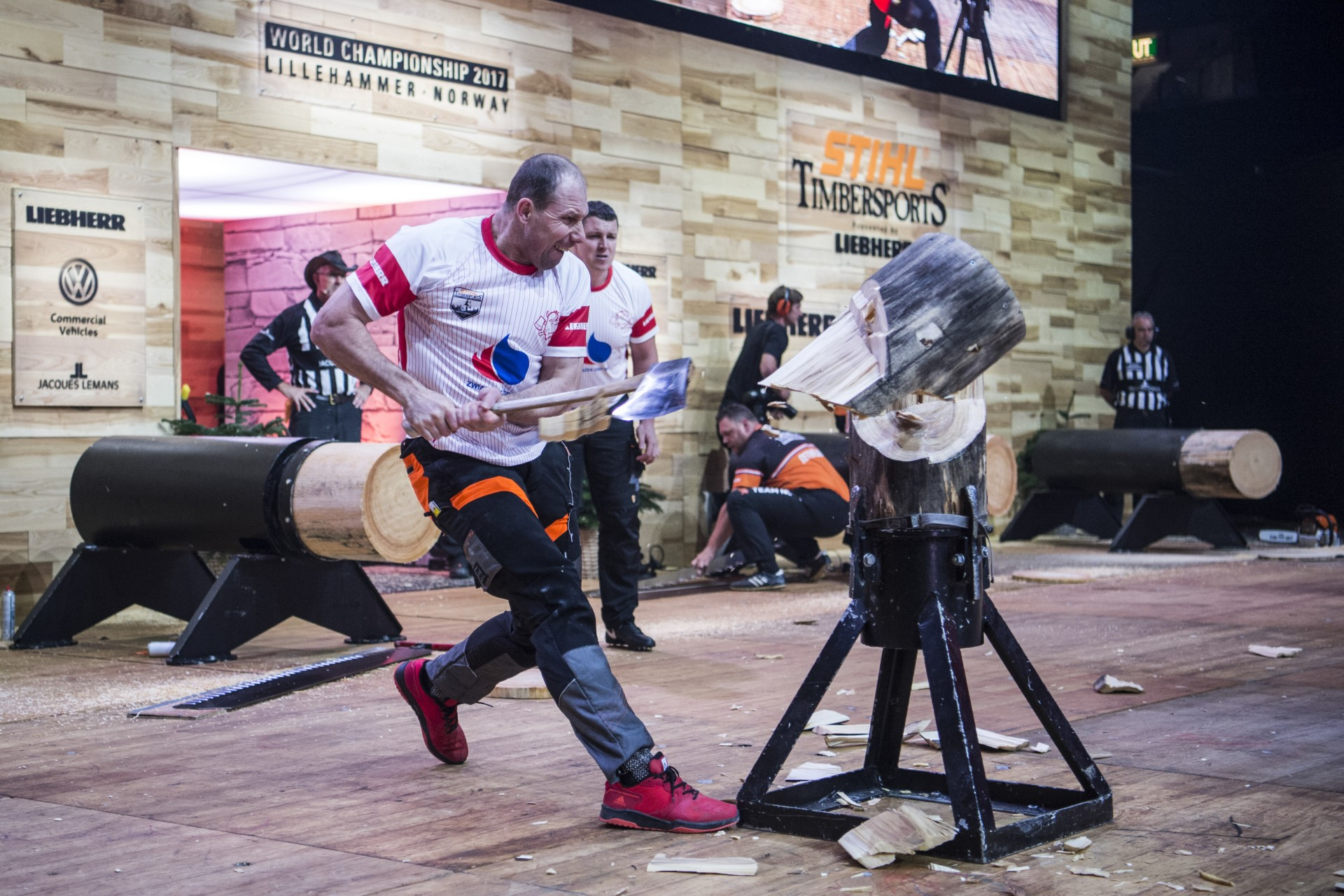 Team Poland competes against Team Netherlands during the Team Competition of the Stihl Timbersports World Championships at the Hakons Hall in Lillehammer, Norway on November 3, 2017.